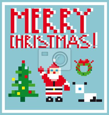 Tema pixel holidays personas tarjeta en estilo pixel art vector fotomural fotomurales nicol s - Fotomurales pixel ...