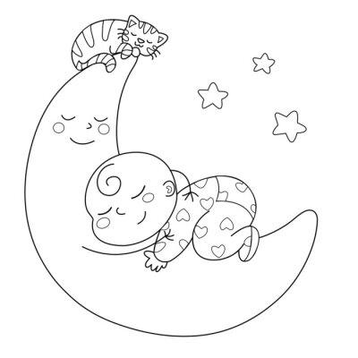 Fotomural Tenera luna estafa bebè che dorme