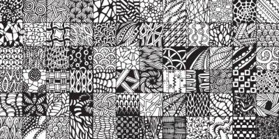 Fotomural textura con cuadrados blancos y negros pintados en el estilo de zentangl