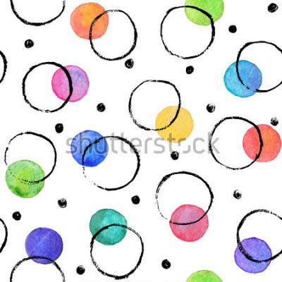Fotomural Textura de acuarela. Manchas de acuarela con círculos de tinta dibujados a mano con pincel seco. Patrón sin costuras Patrón de acuarela con puntos de colores y círculos negros aislados sobre fondo bla