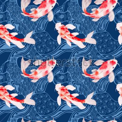 Fotomural Textura de patrones sin fisuras de peces koi acuarela con olas sobre fondo