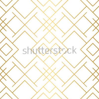 Fotomural Textura dorada Patrón geométrico sin molécula Fondo de oro Vector sin patrón Fondo geométrico con rombo y nodos. Patrón geométrico abstracto