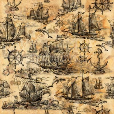 Fotomural Textura vintage perfecta, papel pintado sobre un tema marino, dibujado a mano con veleros antiguos, tiburones, volantes, círculos de ahorro y papel viejo.