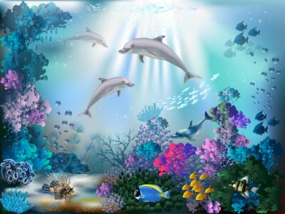 Fotomural The underwater world with dolphins and plants
