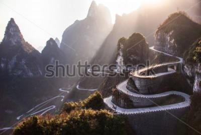 Fotomural The winding road of Tianmen mountain national park, Hunan province, China