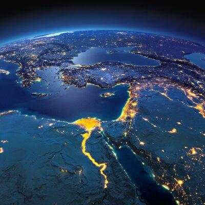 Fotomural Tierra Detallada. África y Oriente Medio en una noche de luna