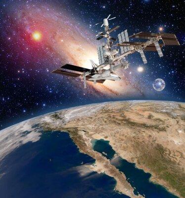 Fotomural Tierra satélite astronomía estación espacial internacional estación meteorológica vía láctea galaxia. Elementos de esta imagen proporcionados por la NASA.