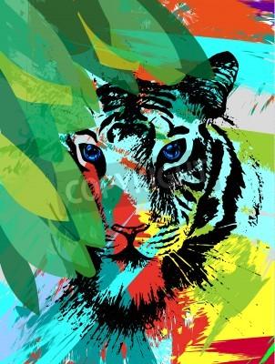 Fotomural Tigre bajo hojas en el vector
