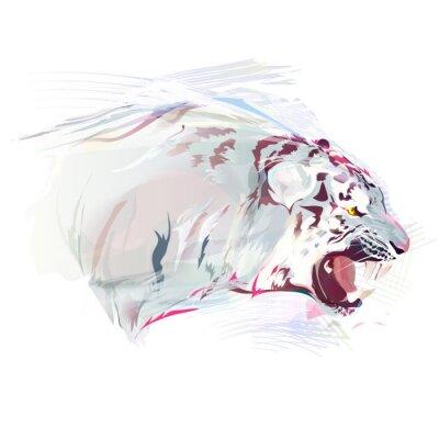 Fotomural Tigre blanco, ilustración de la acuarela