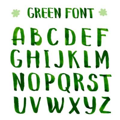 Fotomural Tinta hecha a mano alfabeto verde.