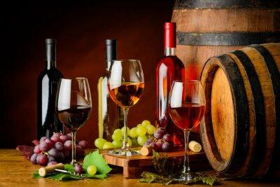Fotomural Tipos de vino en botellas y vasos