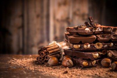 Fotomural Todavía la vida de la barra de chocolate rota