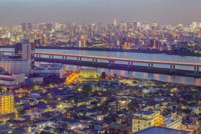Fotomural Tokio vista de la ciudad con la torre de Tokio en el crepúsculo