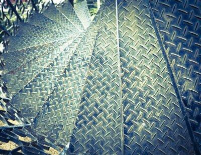 Fotomural Tono de la vendimia de hierro espiral de fondo escalera