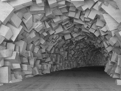 Fotomural Torneado hormigón interior del túnel, procesamiento 3d