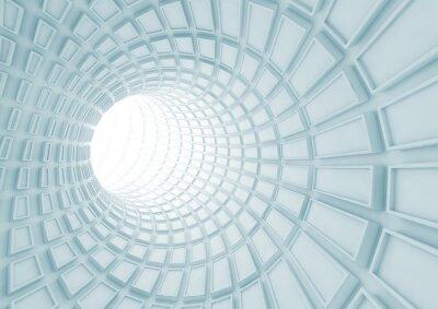 Fotomural Torneado interior de túnel azul con baldosas extrusionadas