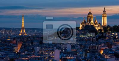 Fotomural Tour Eiffel et Sacré Coeur au couché de soleil