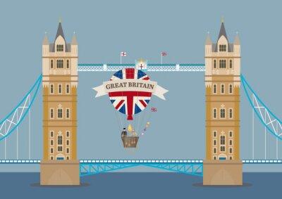 Fotomural Tower Bridge en Londres con el globo de aire caliente
