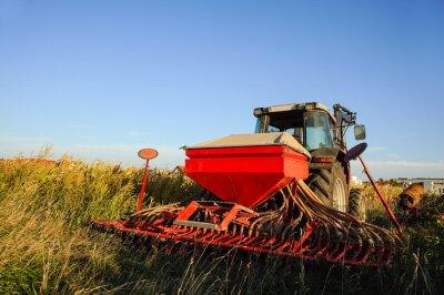 Fotomural Traktor con Sämaschine en el Feld