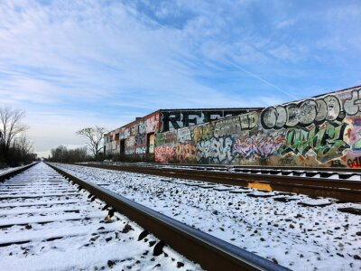 Fotomural Tren de Detroit, Michigan y nieve - foto en color de paisaje