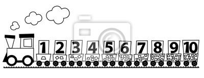 Fotomural Tren De Dibujos Animados En Blanco Y Negro Con Números 1 10