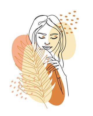 Fotomural Trendy abstract continuous one line woman portrait with palm leaf and geometric shapes. Vector.