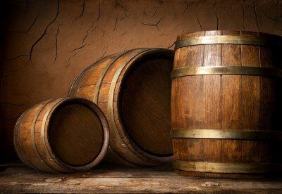 Fotomural Tres barriles de madera
