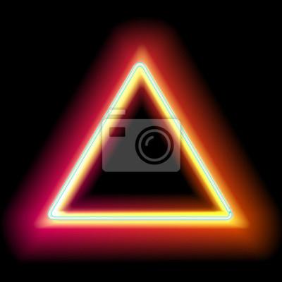 Triángulo de neón. luz roja de neón. vector marco eléctrico ...