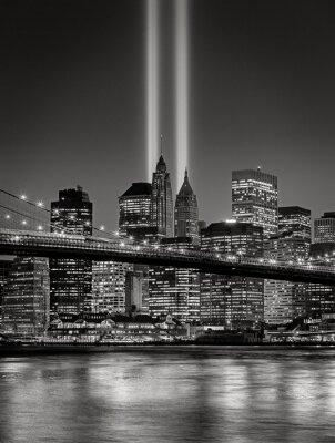 Fotomural Tributo en Luz, 11 de septiembre Conmemoración, Ciudad de Nueva York