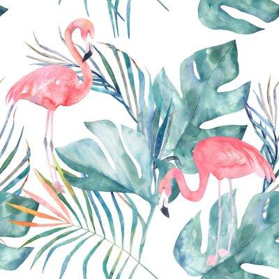 Fotomural Tropical de patrones sin fisuras con flamenco y hojas. Impresión de verano de acuarela. Ilustración exótica dibujado a mano