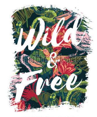 Fotomural Tropical exotic print with slogan for t-shirt graphic and other uses. Vector illustration.