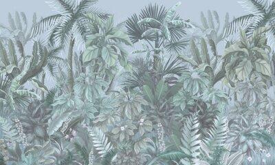 Fotomural Tropical forest, jungle, blue