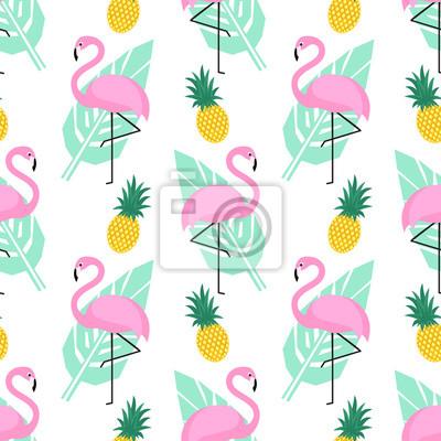 e7d4beb747 Fotomural Tropical patrón de moda sin fisuras con flamencos rosados
