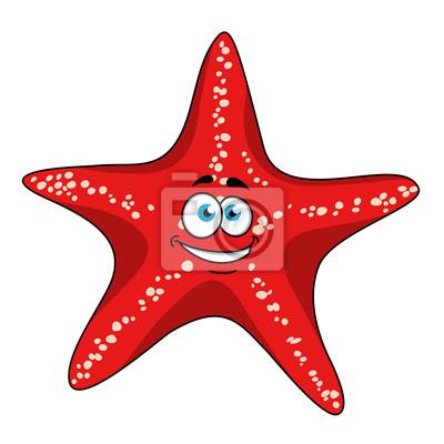Tropical Personaje Estrella De Mar Rojo De Dibujos Animados