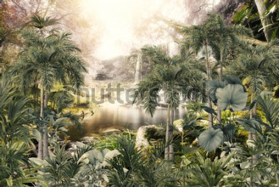 Fotomural tropical trees and leaves wallpaper design in foggy forest - 3D illustration