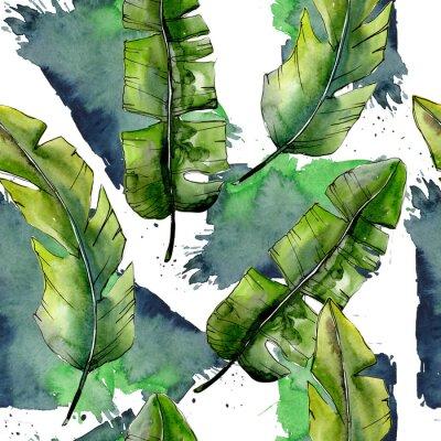 Fotomural Tropical verde lesves en un patrón de estilo de acuarela. Hoja de Aquarelle para el fondo, la textura, el patrón de la envoltura, el marco o el borde.