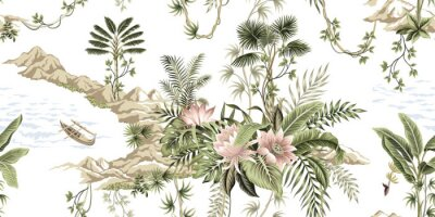 Fotomural Tropical vintage botanical island, palm tree, mountain, sea wave,boat, palm leaves, liana, lotus flower summer floral seamless pattern white background.Exotic jungle wallpaper.