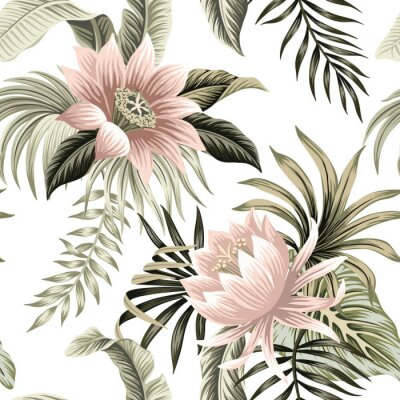 Fotomural Tropical vintage pink lotus, palm leaves, banana leaves floral seamless pattern white background. Exotic jungle wallpaper.