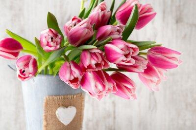 Fotomural Tulipanes en el fondo gris.
