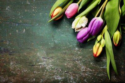 Fotomural Tulipanes sobre un fondo de madera