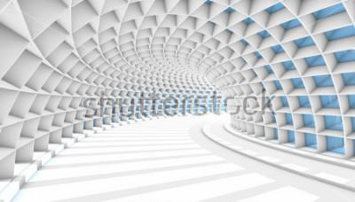 Fotomural Túnel abstracto blanco con ventanas rectangulares azules. 3d hacer ilustración