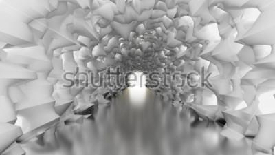 Fotomural Túnel blanco y luz. 3d ilustración, representación 3d