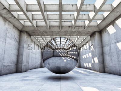 Fotomural Túnel concreto del concepto del arte con la bola de metal. Ilustracion 3d