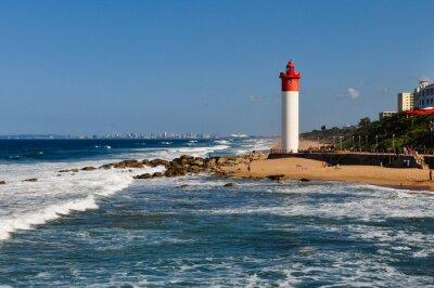Fotomural Umhlanga Leuchtturm con Durban als Hintergrund; Südafrika