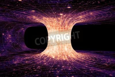 Fotomural Un agujero de gusano, o Einstein-Rosen Bridge, es un hipotético atajo que conecta dos puntos separados en el espacio-tiempo.
