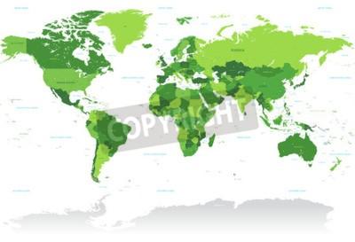 Fotomural Un alto detalle vector Mapa del mundo en tonos de verde. Todos los países se nombran con el nombre inglés respectivo.