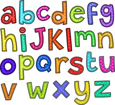 Fotomural Un doodle estilo de puntada de letras del alfabeto dibujado a mano.