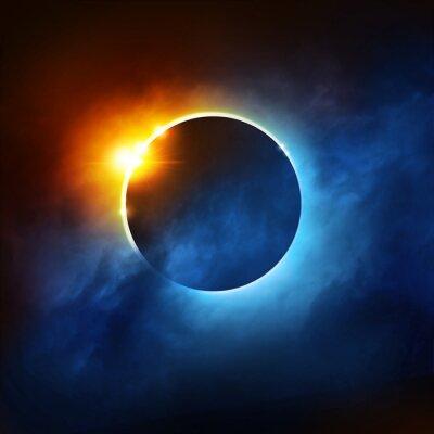 Fotomural Un Eclipse Total del Sol. Ilustración dramática del eclipse solar.