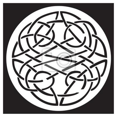 Un nudo celta y el patrón en un diseño del círculo fotomural ...