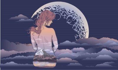 Fotomural Una chica romántica se sienta en el fondo de la luna. Chica de arte corporal, cuerpo pintado con paisajes. Chica romántica en el fondo de la luna y el cielo estelar diseño de tatuaje y camiseta. mujer